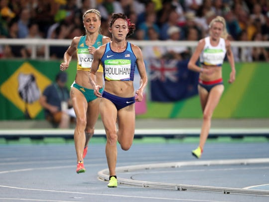 Shelby Houlihan (USA) races Genevieve LaCaze (AUS) during the women's 5000m final in the Rio 2016 Summer Olympic Games at Estadio Olimpico Joao Havelange.