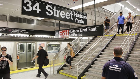 The 34th Street and 11th Avenue station for the No. 7 subway, New York City's first new station in a quarter-century, seen on Sept. 13.