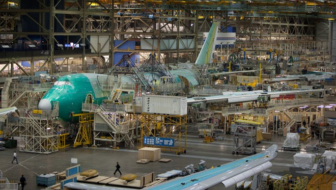 The production line at the Boeing factory in Everett, Wash.