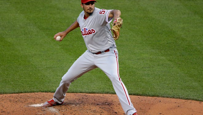 Philadelphia Phillies starting pitcher Zach Eflin delivers a pitch in the fifth inning Friday against the Pittsburgh Pirates at PNC Park.