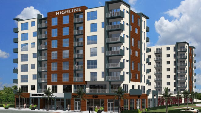 This artist's rendering depicts the eight-story Highline development, featuring 171 apartments at the former Melbourne High site on New Haven Avenue.