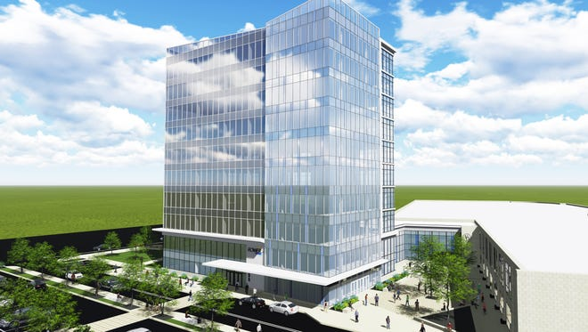 This rendering shows the design concept for the STAR Tower, a 10-story office building under construction at University of Delaware's STAR Campus off South College Avenue.