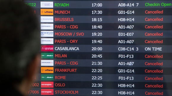 A schedule board for international flights at New York's