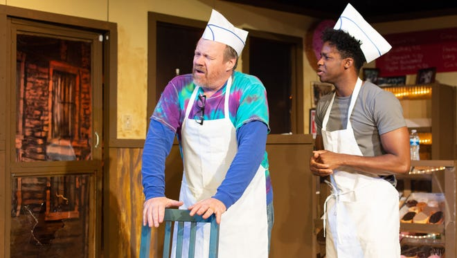 "Michael Perlmutter stars as Arthur Przybyszewski, left, and Emmanuel Odaibo star as Franco Wicks in ""Superior Donuts,"" on stage through May 12 at the Elite Theatre Company in Oxnard."