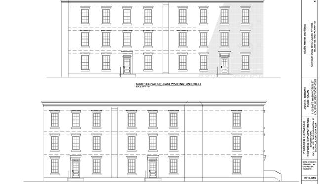 Proposed elevations for a 15-unit apartment complex in Butchertown.