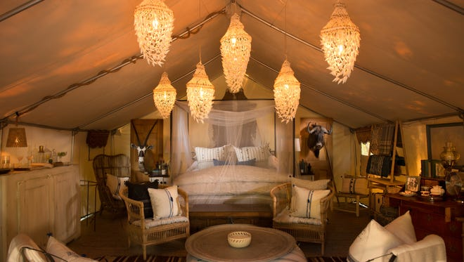 Four safari-style glamping tents were also added to the Sandy Pines Campground this season. Pictured here, Blixen's Oasis.