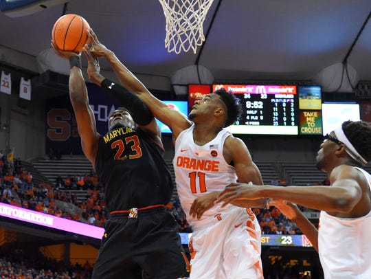 Syracuse Orange forward Oshae Brissett (11) alters