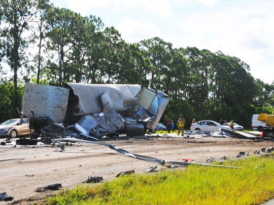 A fatal crash involving two semitrailers as seen on