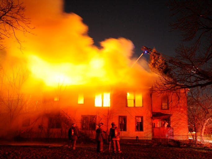 A fire on Detroit's east side takes over an abandoned