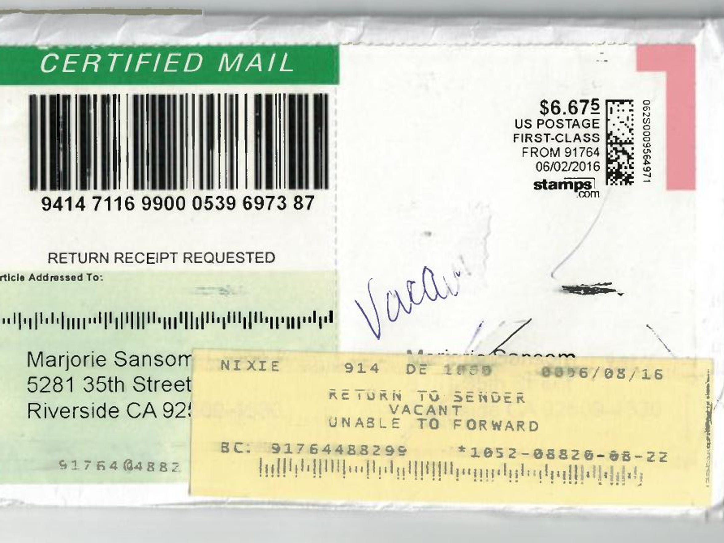 A screenshot of an envelope shows how Coachella's legal notices to Marjorie Sansom were returned undelivered. Coachella City Hall presumed it had the correct address of Sansom, even though the Postal Service told them twice that they were mailing documents to a vacant house.