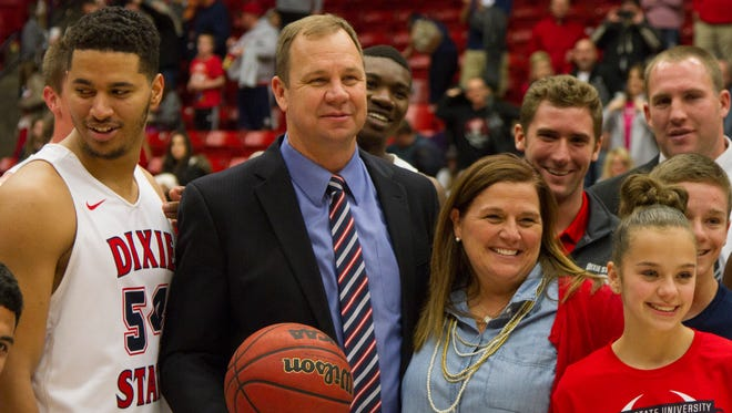 Dixie State basketball coach Jon Judkins wins his 500th career game Saturday, Jan. 28, 2017.