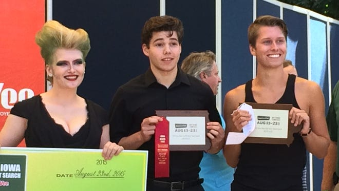 Bill Riley Talent Search winners Britta Fult, Jonathan Wolf and Ridge McGinley pose for pictures.