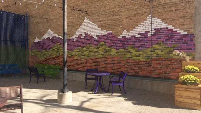 The mural in the downtown public space near Copper Rock Coffee Company.