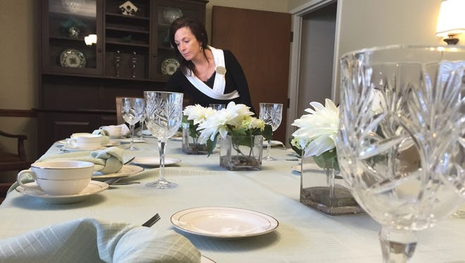 Sarah Vincenzo, executive director of the Zanesville Brookedale Senior Living Community, looks over the buildings private dining room. The $1.7 million renovation to the building focused on improving quality of life and a makeover to the decor.