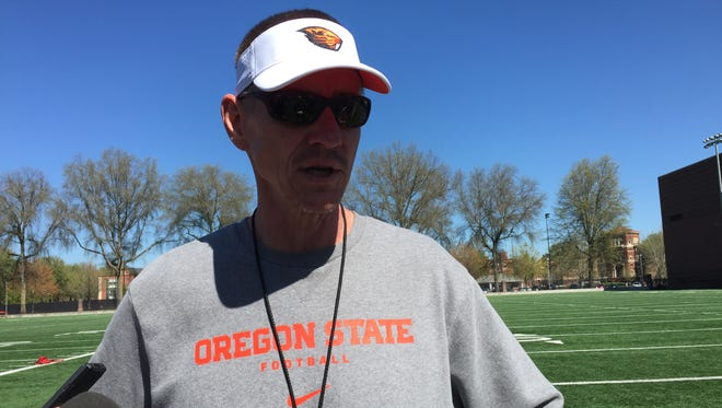 Oregon State football coach Gary Andersen meets with the media following Thursday's practice at Prothro Field.