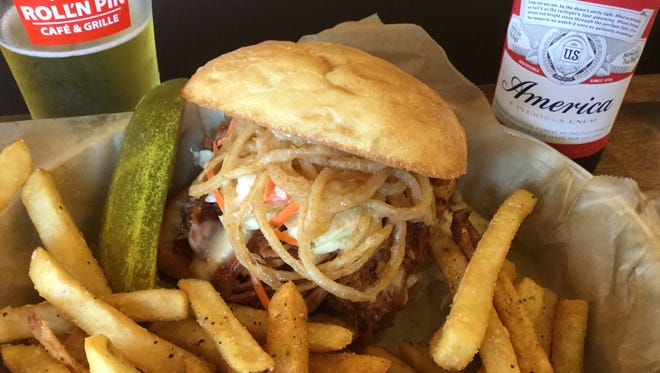 Whiskey pulled pork sandwich from Roll'n Pin.