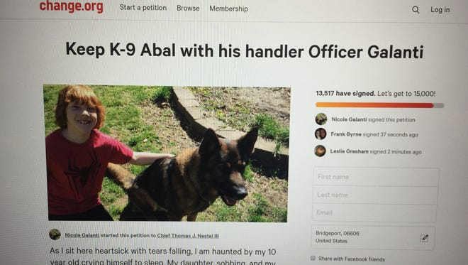 A screenshot of an online petition that the Galanti family of Wenonah launched after SEPTA said it would not let them keep the police K-9 that had been like a family pet for years.