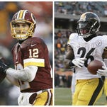 Washington quarterback Kirk Cousins, left, and Pittsburgh running back Le'Veon Bell, right, are two recent Michigan State stars that have made early waves in the NFL. But the group of Spartans playing on Sundays doesn't yet reflect MSU's recent winning.