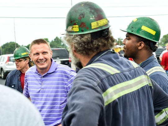 Jon Witherow, the current general manager of Nucor Fastener and a former employee of Nucor Steel Marion, speaks to plant workers during the Nucor Steel Marion 100th anniversary on Friday.