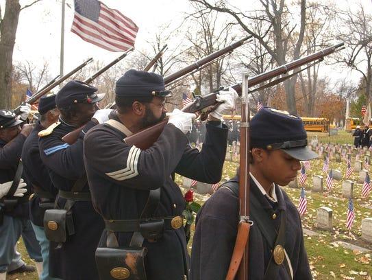 In this Nov. 11, 2004, file photo, Civil War re-enactor
