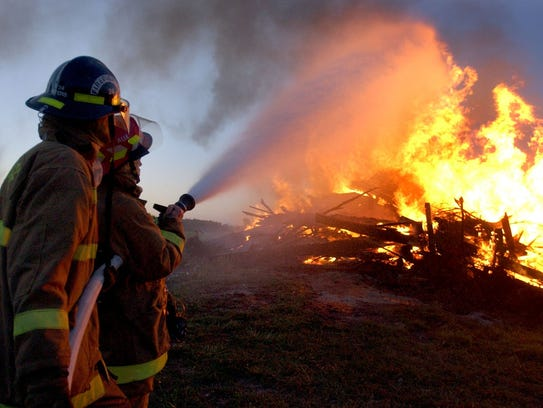 Firefighters from the Portage Fire District put out