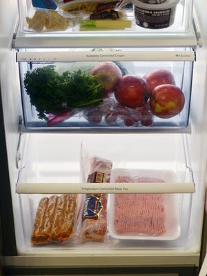 NSF International recommends storing vegetables in a separate drawer above the meat compartment to avoid raw juices dripping onto the produce.