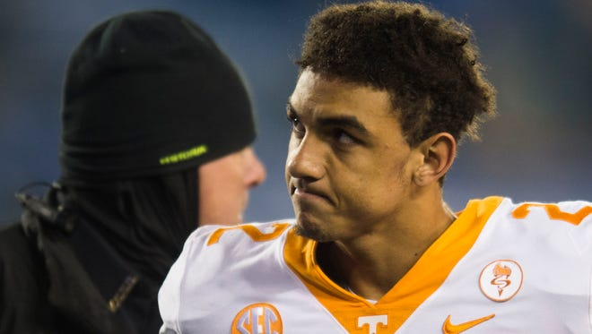 Tennessee quarterback Jarrett Guarantano (2) walks off the field after the Tennessee vs. Kentucky game at Kroger Field in Lexington, Kentucky Saturday, Oct. 28, 2017. Kentucky defeated Tennessee 29-26.