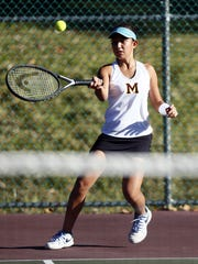 Madison's Allison Nevias hits a forehand during the Morris County Tournament girls tennis preliminary rounds at County College of Morris. September 23, 2017, Randolph, NJ