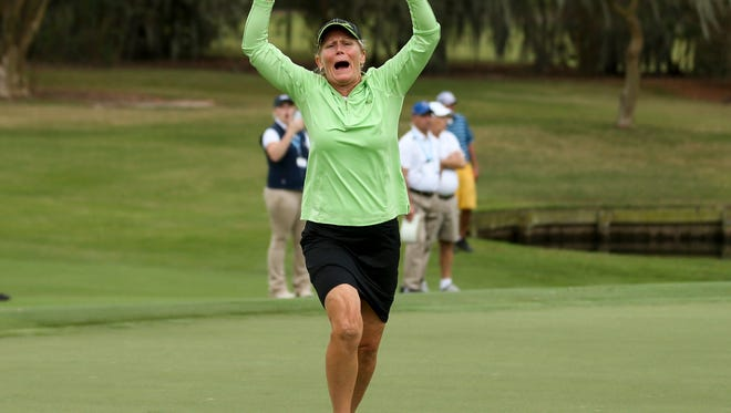 Mary Jane Hiestand reacts after sinking a birdie putt on the 19th hole to win her match against Shannon Johnson during the semifinal round at the 2017 U.S. Women's Mid-Amateur at Champions Golf Club  in Houston, Texas on Wednesday, Nov. 15, 2017.