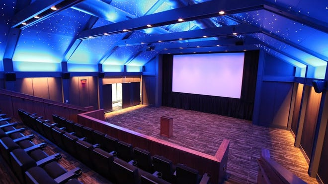 The accessible theaters are outfitted with the latest technology for the hearing and visually impaired at The Prospector Theater in Ridgefield, Connecticut.