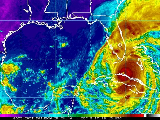 A radar image of Hurricane Irma closing in on Florida.