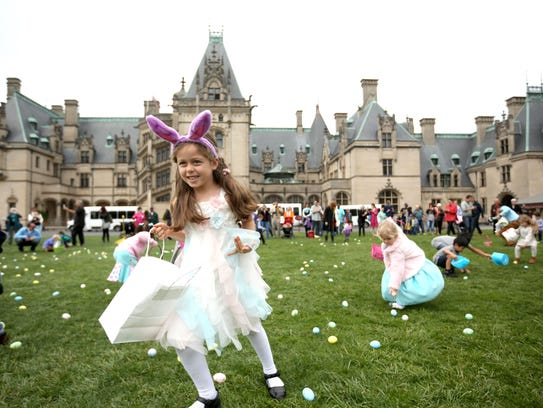 Nicole Calderon takes part in the Easter Egg Hunt at