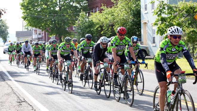 Nearly 5,000 riders from the Gran Fondo New York race pass through Stony Point, May 21, 2017. Some stopped at the aid station while others continued on in the 100-mile race from the George Washington Bridge to Bear Mountain and back.