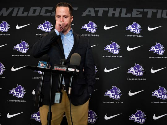Outgoing Abilene Christian University Athletic Director Lee De Léon pauses for an emotional moment during a media conference at ACU Thursday. De Léon is leaving to be the executive senior associate athletic director and assistant vice president for development at Purdue, in Lafayette, Indiana.