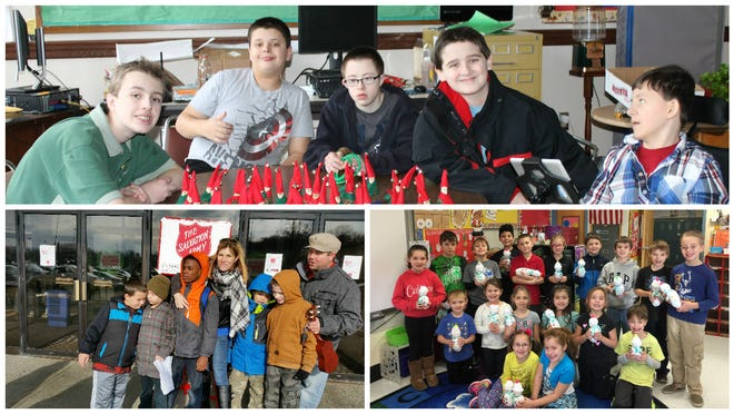 Top photo: Elijah Paul, Tim Kemp, Jordan Whitehair, John Rounseville and Nick Hinkley show off their pinecone elves. Bottom left: Jackson Kieffer, Vance Sweet, Noah Maxwell, Carrie McKain, Geo Gonzolez, Damien Lupiani and Tim Austin ring bells for the Salvation Army. Bottom right: Jodie Shatzel's second-graders display their hand-crafted snowmen. photos provided by BCSD