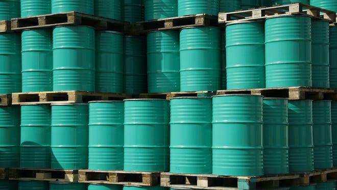 Stockpiles of crude oil.