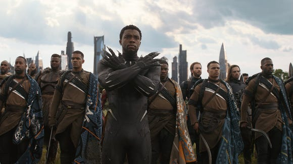 "Black Panther (Chadwick Boseman, center) leads the Wakandan troops in ""Infinity War."""