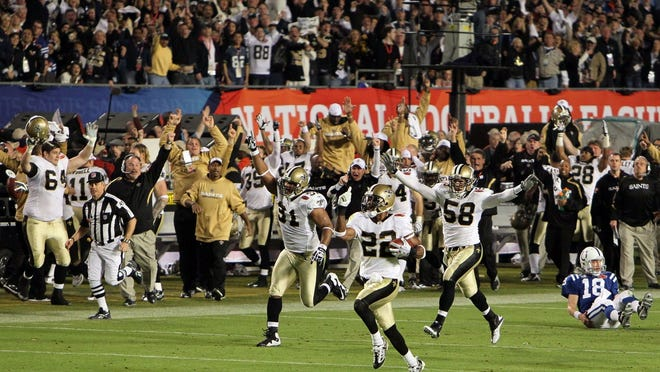 Tracy Porter returns an interception 75 yards to seal the Super Bowl XLIV victory for the New Orleans Saints on Feb. 7, 2010.