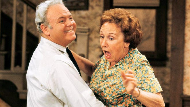 "Archie Bunker (Carroll O'Connor), left, and his wife, Edith (Jean Stapleton), joined to become one of TV's all-time couples in the legendary 1970s sitcom, ""All in the Family."""