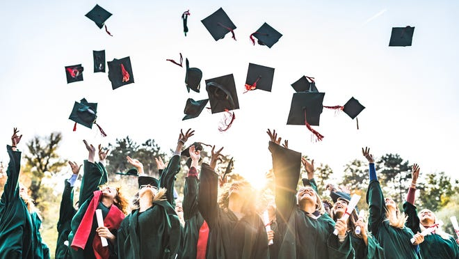 High school graduation rates are on the rise in the United States. In the 2  016-2017 scho  ol year, 85% of seniors graduated on time, up from 84% the previous ye  ar and 80%   five years prior.   In the United States, high school graduates are more likel  y to be in better h  ealth, less likely to be unemployed, and typically earn about 28% more annually than those who have not completed high school. In light of the benefits associated with a high school education, the climbing graduation rate comes as encouraging news.    While the national high school graduation rate is at its highest level in years, there are parts of the country where graduation rates far exceed the national rate. 24/7 Wall St. reviewed the share of high school seniors who graduated on time in 382 U.S. metropolitan areas to identify the cities where the most people graduate from high school. All data on high school graduation is from    2019 County Health Rankings & Roadmaps   , a collaboration between the Robert Wood Johnson Foundation and the University of Wisconsin Population Health Institute.    According to the Bureau of Labor Statistics, American adults with a high school diploma are far more likely to have a secure job than those who have not completed high school. Th  e 5.6% 2018 unemploym  ent rate among adults 25 and older who did not complete high school is considerably higher than the 4.1% rate among adults who completed high school and did not go on to college.    In every city on this list, the high school graduation rate for the 2016-2017 school year is over 91%. Perhaps not surprisingly, in the majority of these cities, the annual unemployment rate is lower than the 3.9% national average.    Of course, when it comes to local and regional job markets, the educational attainment of the workforce is only part of the equation. Another important factor is whether the number of available jobs is keeping pace with the demand for work.    Here is a look at the U.S. cities that have adde