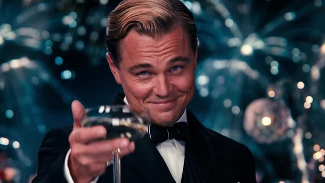 "Still image of Leonardo DiCaprio as the titular character in Baz Luhrmann's 2013 adaptation of F. Scott Fitzgerald's classic 1924 novel ""The Great Gatsby."""