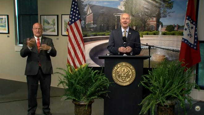 Gov. Asa Hutchinson at Tuesday's COVID-19 Update in Mountian Home.