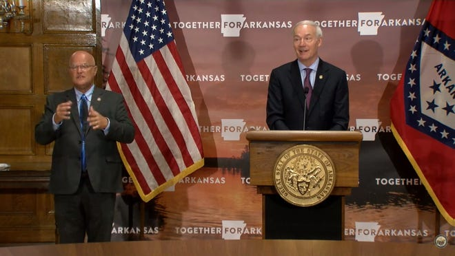 Gov. Asa Hutchinson addressed Hurricane Laura and COVID-19 during his daily update on Wednesday.