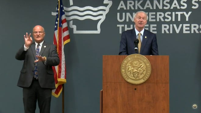 Gov. Asa Hutchinson gave his daily COVID-19 update from the Three Rivers campus of Arkansas State University on Tuesday.