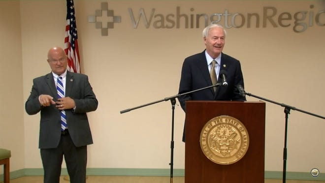 Gov. Asa Hutchinson shared several statistics that are trending downward during his press briefing Wednesday.