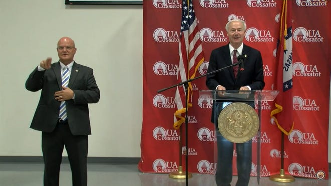 Gov. Asa Hutchinson gave his daily update from DeQueen in Sevier County on Friday.