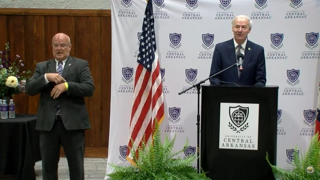 Gov. Asa Hutchinson applauded Conway for passing the model mask ordinance and reducing the number of cases in their city.