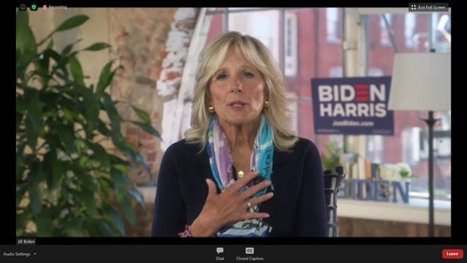 Former Second Lady Jill Biden speaks during a virtual roundtable on community college education with Erie County Executive Kathy Dahlkemper and other guests on Tuesday.