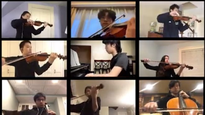 A screenshot from the Boston Youth Chamber video in which they all play, separately but together, Dvorak's seventh Humoresque.