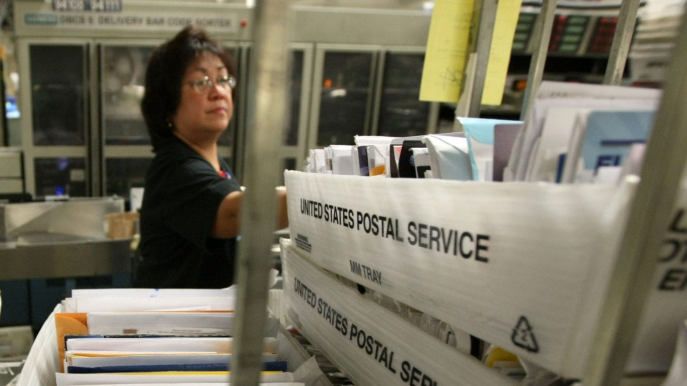 Postal service mail sorters, processors, and processing machine operators.
